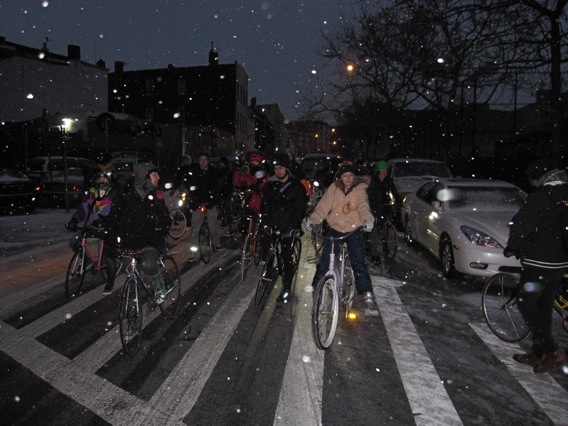 """The December 19th """"panty ride"""" pauses at a stoplight in Hasidic Williamsburg, Brooklyn."""